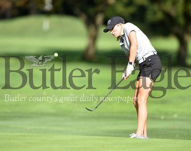 Harold Aughton/Butler Eagle: Carrie Ohorodnyk, executive director of the YMCA in Cranberry, took part in the Butler County Pro Am Golf Classic held at the Butler Country Club, Wed., Oct. 2.