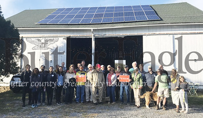 Frankferd Farms was one of the locations in the Butler Harvest Solar Tour that 27 solar tourists traveled by bus Saturday to visit solar installations across the county to demonstrate how residential, business and public buildings across Butler County have been harvesting solar energy and generating savings. Photo by Gabriella Canales.