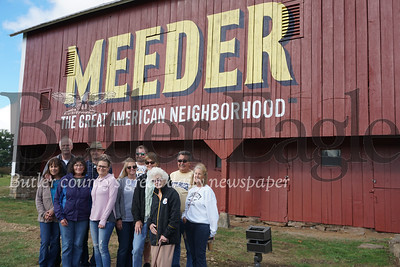 Photo by J.W. Johnson Jr.Members of the Meeder family gather Friday for the unveiling of a mural on the side of the family barn at the corner of Route 19 and Rochester Road in Cranberry Township. The mural and restoration of the farmstead is part of the ongoing Meeder mixed-use development. Officials also announced Friday that Butler-based Recon Brewing will occupy a space in the development's retail area.