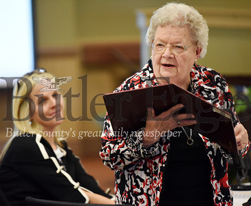Harold Aughton/Butler Eagle: Poet Dolores Fruth reads a poem during the Celebrating Life Centenarian Celebration at Concordia Lutheran Services in Zelienople.
