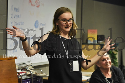 Slippery Rock University music therapy student Rachael Kovaly leads a dance party at a recent Reach and Rise session at the Butler YMCA. Seb Foltz/Butler Eagle