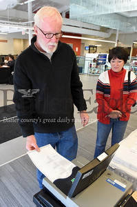 Harold Aughton/Butler Eagle: Bob and Jean Fowler of Butler Twp. stopped by the Butler County Community College Thursday afternoon to test out the new voting machines.