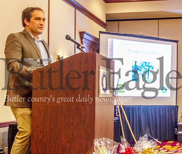 Archaeologist Eric Scuoteguazza speaks on pre-European American trading routes at Washington Trail 1753's 2019 summit Thursday. Alex J. Weidenhof/Butler Eagle