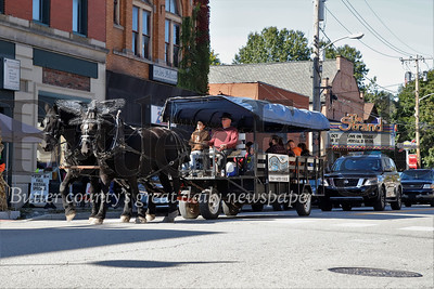A horse drawn carrige rolls down Main Street during Zelienople Fall Festival Saturday. Seb Foltz/Butler Eagle 2019