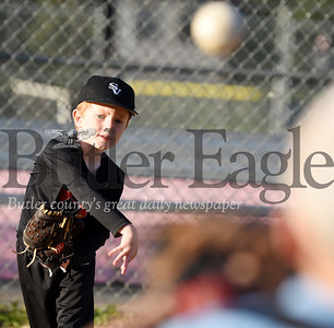 Harold Aughton/Butler Eagle: Daniel Winkle, 6, practices throwing the baseball during a recent Seneca Valley North Athletic Association practice at Zelienople Community Park. According to the association's website, the organization serves the northern communities of the Seneca Valley School District, as well as neighboring communities in Beaver County. SVNAA provides organized leagues for children ages 4-18, from first-year T-ball leagues to American Legion ball.