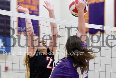 Moniteau's Samantha Broerman goes for a block against Karns City's Emily Huff. Seb Foltz/Butler Eagle