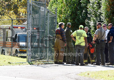Harold Aughton/Butler Eagle: Emergency workers responded to a fatality at the Prospect Borough Sewage Treatment Plant, Tuesday, Oct. 10.