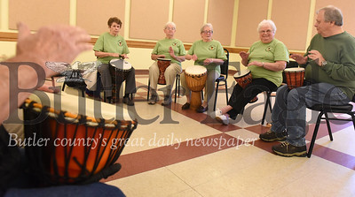 Harold Aughton/Butler Eagle: Evans City Senior Center Drum Circle: (Left - right) Carol Mayer, 78, Barbara Enslen, 81, Patricia Woods 82, Ella Mae Smith, 87, and Bob Demask, 74.