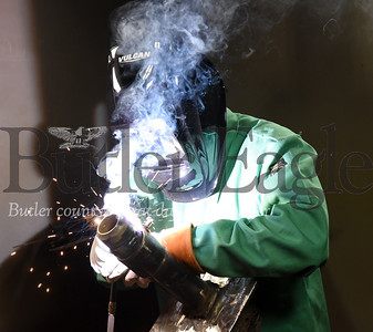 Harold Aughton/Butler Eagle: John Knifley of Lousiana practices his welding technique at the Steamfitters in Harmony.