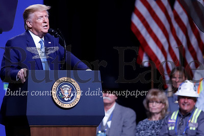 President Donald Trump speaking at shale conference in Pittsburgh 10/23/19. Seb Foltz/Butler Eagle