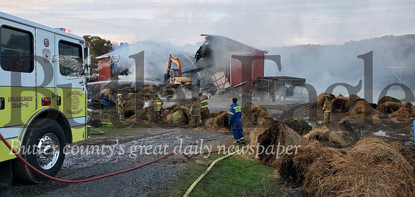 The homeowner was able to evacuate seven cattle from his barn as it caught fire on Thursday in Donegal Township. Photo by Nathan Bottiger