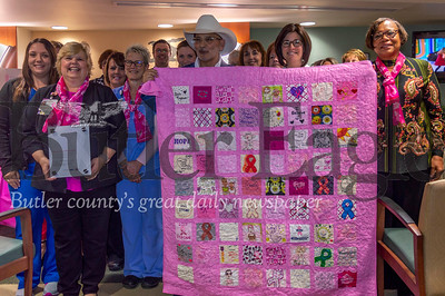 UPMC Passavant - Cranberry's Hillman Cancer Center staff Monday received a Ford Warrior Quilt, decorated with supportive messages. The quilt, made by Karen Womack, will hang in the hospital's hallway. Alex J. Weidenhof/Butler Eagle