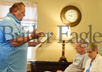 Harold Aughton/Butler Eagle: Larry Nunamaker, driver improvement consultant, provides safe driving tips to the residents of Stirling Village, Wednesday, August 28.