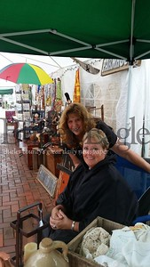 Laurie Kevana, left, operated her booth at the Saxonburg Festival of the Arts on Saturday while enjoying the company of her friend, Lee Anne Pennington of Saxonburg.