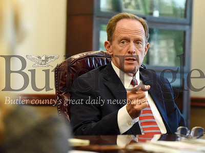 Harold Aughton/Butler Eagle: Senator Pat Toomey meets with the Butler Eagle editorial board.