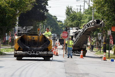 Harold Aughton/Butler Eagle: Sewer lines being installed slowed traffic on Main St. in Saxonburg Wednesday, Sept. 11.