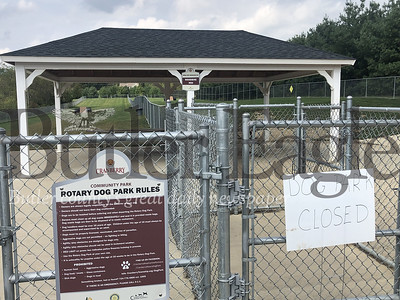 Photo by J.W. Johnson Jr.A sign on the gate at the Cranberry Township Dog Park warns patrons the park is closed Thursday.