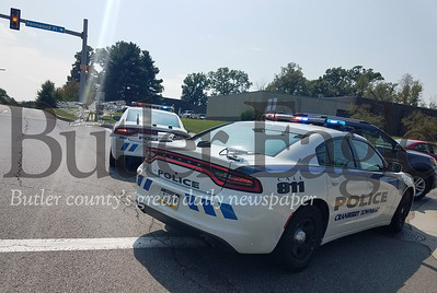 "Cranberry hit ""Cranberry Township Police and EMS responded to the intersection of Pennwood Place and Commonwealth Drive Thursday afternoon after a driver turning right onto Pennwood hit a pedestrian in the crosswalk."" Photo by Samantha Beal."