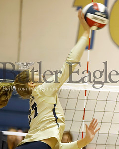 Butler junior Beth Long goes up for a spike in the Golden Tornado's 3-1 win over Mars Monday. Seb Foltz/Butler Eagle