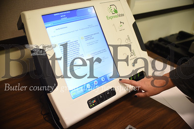 Along with new voting machines to handle paper ballots, every precinct in Butler County will have a machine like the one shown. The machine is designed for accessibility, and includes features such as a type enlarger, headphones and a high contrast view mode. Tanner Cole/Butler Eagle
