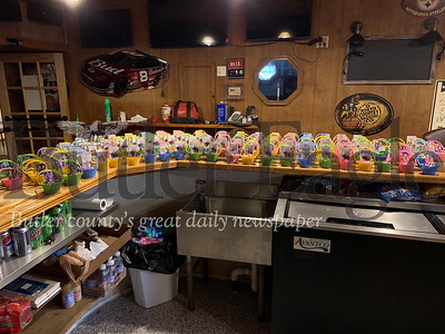 Dozens of Easter Baskets lined the bar at All Stars Restaurant in East Brady this weekend. The baskets - complete with candy, cards and well-wishes, were distributed Sunday to nearly 150 residents living at the Allegheny Hills Retirement Residence and the Riverview Apartments in East Brady, and the Mechling-Shakley Veterans Center in Cowansville.