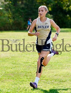 Harold Aughton/Butler Eagle: Butler's senior Autumn Pettinato won the girls cross country meet at Seneca Valley with a time of 20:56.