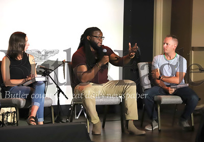 Orchard Hill worship leader David Bowens (center) discusses race issues on Saturday's Race and the Church panel discussion with Heather Warheit  and Brady Randall at Orchard Hill's Butler location. Seb Foltz/Butler Eagle 08/01/20