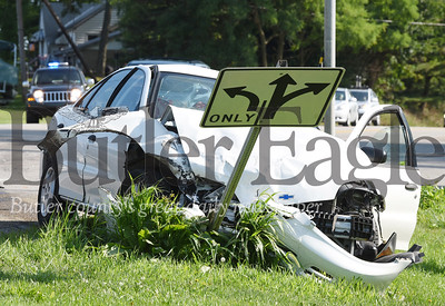 Harold Aughton/Butler Eagle: A two-car accident occurred at the intersection of Evans City and Reibold roads Thursday shortly after 9:00 a.m. Connoquenessing and Evans City fire departments responded along with the Butler Ambulance Service. Pennsylvania State Police are investigating.