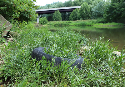 Grass grows through a tire at Porters Cove boat launch in Harmony. Seb Foltz/Butler Eagle