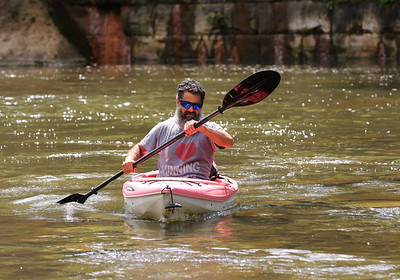 Mark Varlotta of Cranberry paddles down Connoquenessing Creek near Harmony Wednesday. Seb Foltz/Butler Eagle 08/05/20