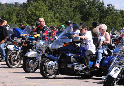 American Legion Ridgers  get ready to kick off Saturday's annual Veterens Benefit Ride Hosted by the Butler County chapter of the riders at Legion Post 778 in Butler. Seb Foltz/Butler Eagle 08/08/20
