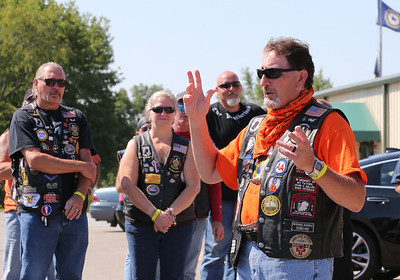 Butler County American Legion Riders road captain Jim Butler gives instructions to riders for Saturday's annual Veterans Benefit Ride. Riders from legion posts around the region congregated at Legion Post 778 in Butler for the ride. Seb Foltz/Butler Eagle 08/08/20
