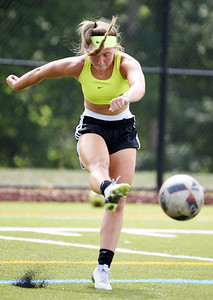 Harold Aughton/Butler Eagle: Still Preparing: Junior Alexis Wateska, a forward on North Catholic's soccer team, tracks down a ball during a private lesson in Mars, Tuesday afternoon. August 11, 2020.