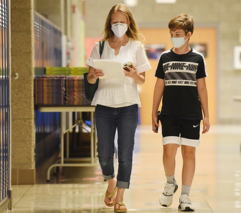 Harold Aughton/Butler Eagle: Jennifer Helwig and her son, Nathan, a 6th grader at Mars Centennial, tour the school Wednesday afternoon, August 19, 2020.