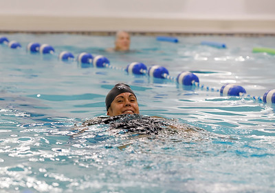 Krissie Lanegan of Butler in YMCA warm pool swimming. Seb Foltz/Butler Eagle