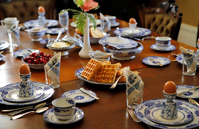 The Lowrie House dining table is setup as if the Sullivan Family was sitting down for breakfast.
