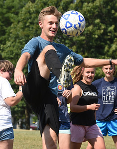 Harold Aughton/Butler Eagle: Donovan Jones, 16, of Butler takes control of the ball during soccer practice for the First Baptist Christian School's co-ed soccer team Monday, August 24, 2020.