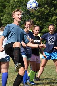 Harold Aughton/Butler Eagle: Donovan Jones, 16, of Butler takes control of the ball during soccer practice for the First Baptist Christian School's co-ed soccer team at Father Marinaro Park Monday, August 24, 2020.
