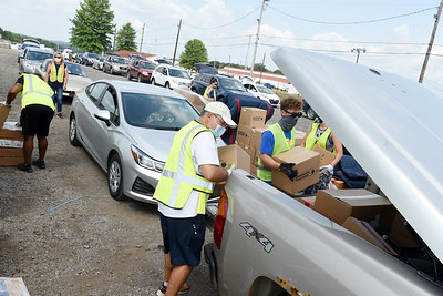 Harold Aughton/Butler Eagle: The Greater Pittsburgh Foodbank held a food distribution event at the Butler Fairgournds, Tuesday, August 25, 2020.
