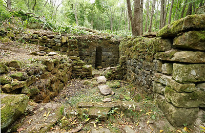 Remains of an old structure on Moraine State Park's Hilltop Trail, described in the trail description as a spring house. Seb Foltz/Butler Eagle Aug. 2020