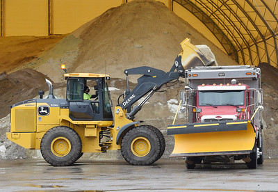 """Mike Iscrupe, foreman for Center Twp., loads a truck in preparation of Tuesday's snow storm. """"We are only a six man crew and have 72 miles of road to cover,"""" explained Iscrupe. """"It keeps us busy."""" Monday, November 30, 2020. Harold Aughton/Butler Eagle."""