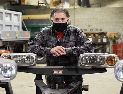Dave Meeder, Director of Public Works for Butler Twp, spent Monday preparing for the impending snow storm. According to Meeder, the township has 93 miles of roads to treat. Monday, November 30, 2020. Harold Aughton/Butler Eagle.
