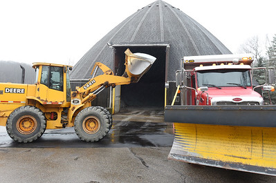 Jason Ziegler, a truck driver and operator for the Butler Township Public Works department loads salt into a truck in preparation for the impending snow storm. According to Dave Meeder, director of public works, the department maintains has 93 miles of roads throughout the township. Monday, November 30, 2020.  Harold Aughton/Butler Eagle.