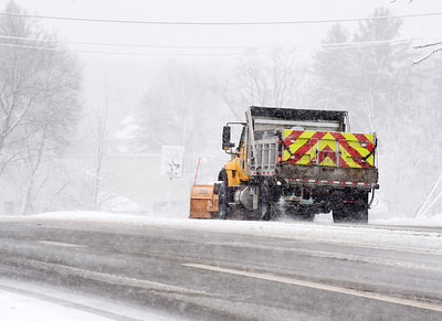 A PennDot plow truck travels north along route 8 near the intersection of Airport road in Butler Twp Tuesday morning, December 1, 2020. Harold Aughton/Butler Eagle.