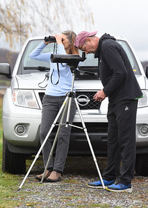 Retirees Mark and Faith Loretto of Harmony focus their spotting scope and binoculors on a Whistling Swan or Thundra Swan at Lake Arthur Wednesday, Nov. 11, 2020. Harold Aughton/Butler Eagle  have been watching birds at Lake Arthur for the past 30 years.