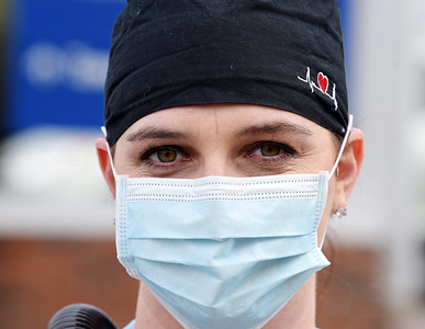 Hannah Osborne of Jefferson Township has been working as a nurse in the COVID unit of the Butler Memorial Hospital since the pandemic started in March. December 4, 2020.  Harold Aughton/Butler Eagle.