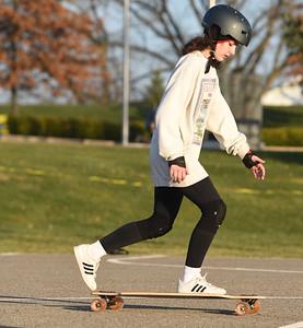 Chloe Ciora, 22, of Nixon Twp, and a senior University of Pittsburgh computer science major, started her winter break skateboarding at the Adams Twp. Community Park, Thursday, December 10, 2020. Harold Aughton/Butler Eagle.