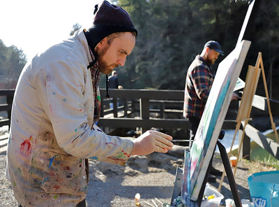 Butler Art Center gallery director Steve Haley takes advantage of the mild weather Friday with fellow artist Steve Dray painting at McConnells Mill. Seb Foltz/Butler Eagle 12/11/20