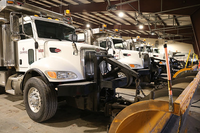 Snowplows stand ready in Cranberry Township's Public Works facility Tuesday. Seb Foltz/Butler Eagle 12/15/20