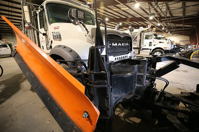 Cranberry Township Public Works Snowplow stands ready in the township's garage. Seb Foltz/Butler Eagle 12/15/20